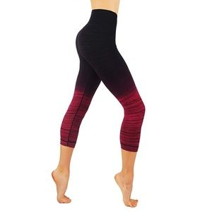 Pants - Ombre leggings dry fit workout pants red